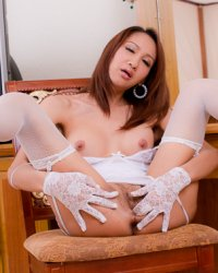 Shemale in lace  lace fingers and a silver sex plug in nams sex