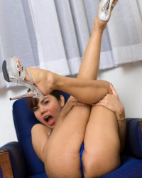 Glass dildo ride  asian tranny pop teases her new vagina in a elegant string bikini. Asian tranny Pop teases her new cunt in a sophisticated string bikini